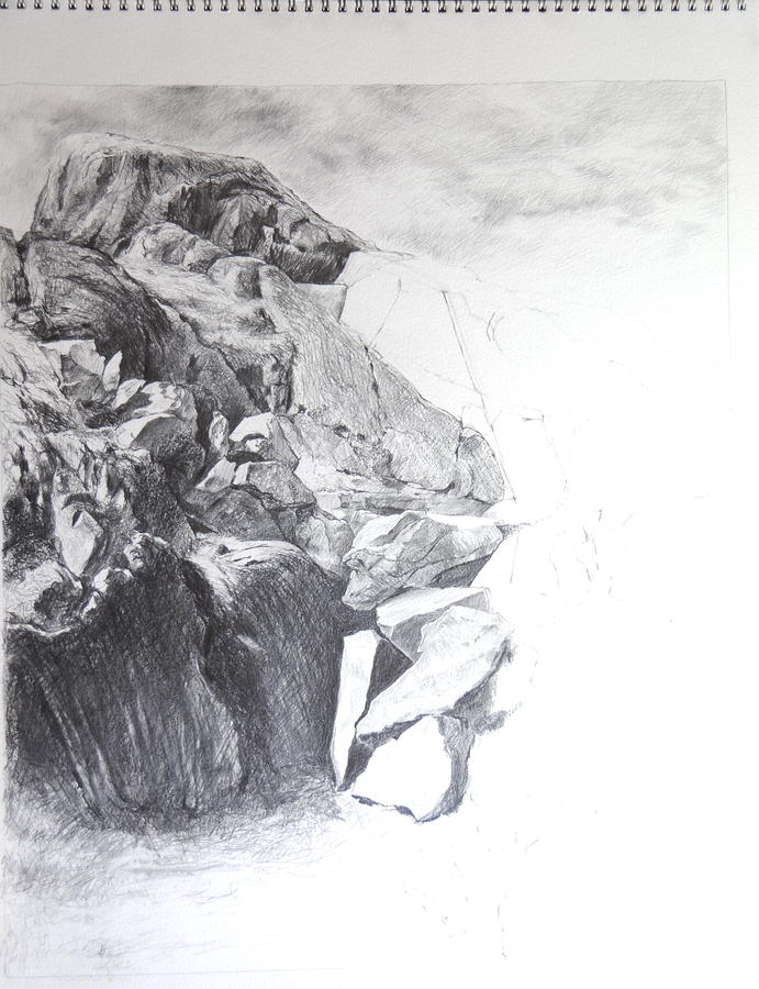 Rocky Outcrop In Snowdonia. Painting