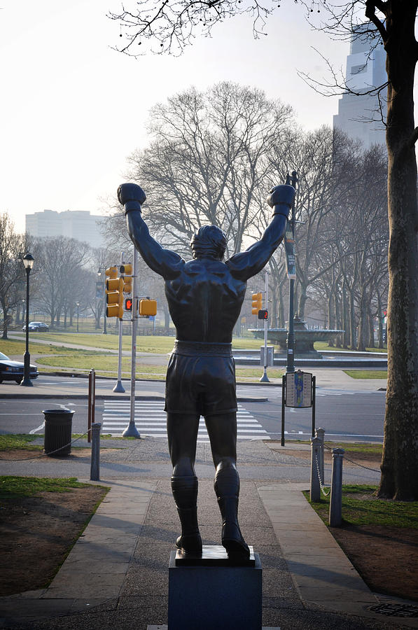 Rocky Statue From The Back Photograph
