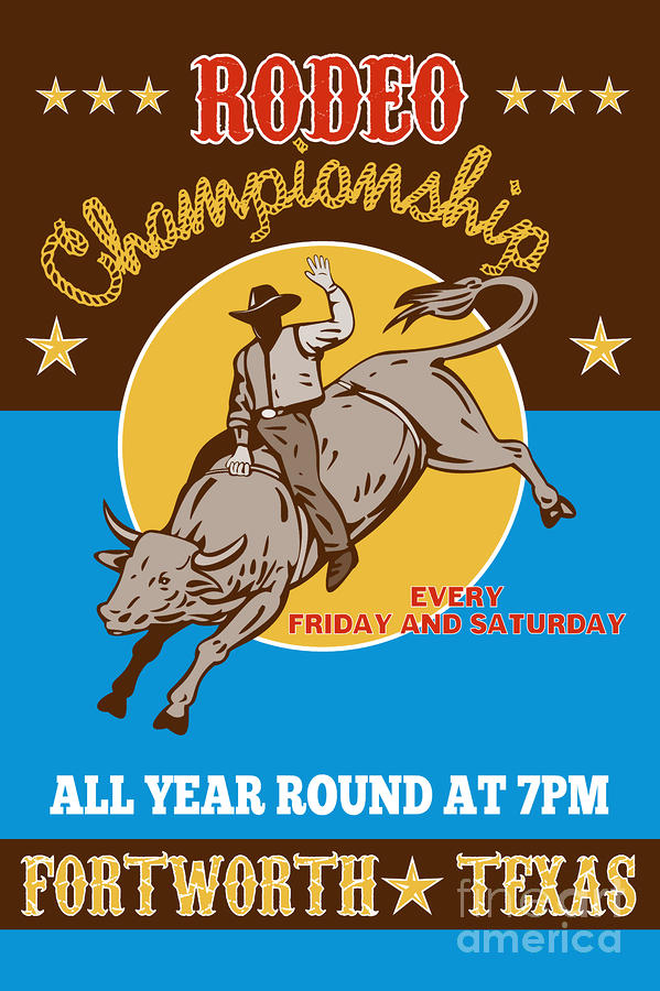 Rodeo Cowboy Bull Riding Poster Digital Art