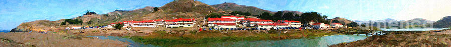 Rodeo Lagoon In The Marin Headlands California . Panorama . Painterly Style Photograph  - Rodeo Lagoon In The Marin Headlands California . Panorama . Painterly Style Fine Art Print