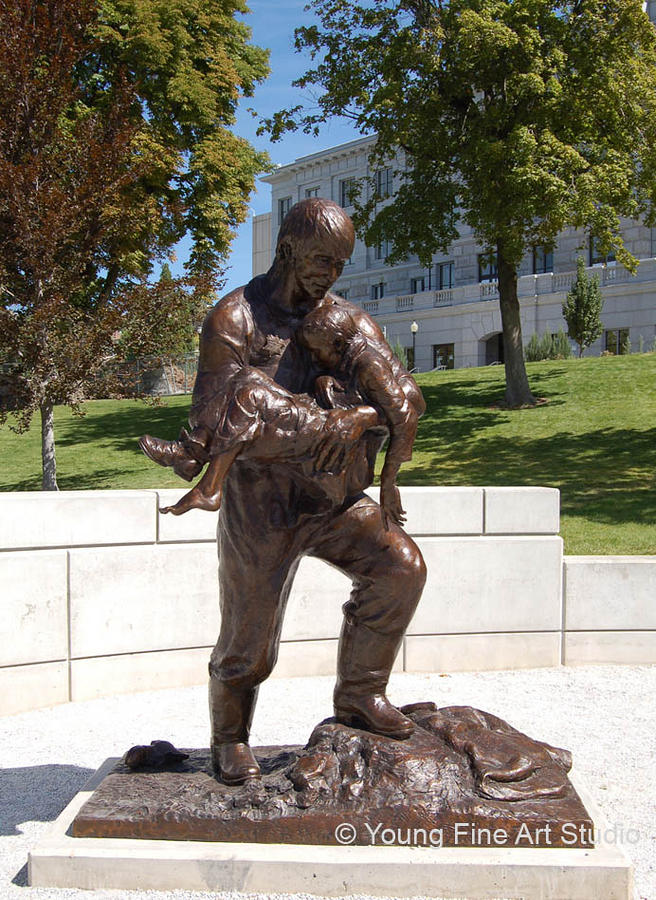 Utah Police Memorial Statues Sculptures Sculpture - Rodney Badger Bronze Memorial Statue by Lena Toritch