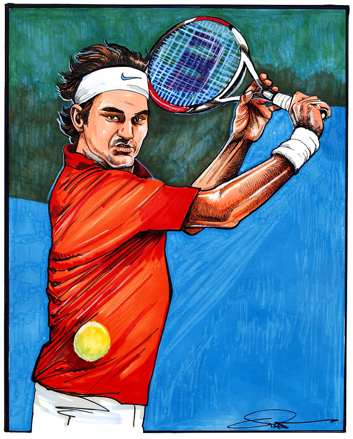 roger federer drawing by dave olsen