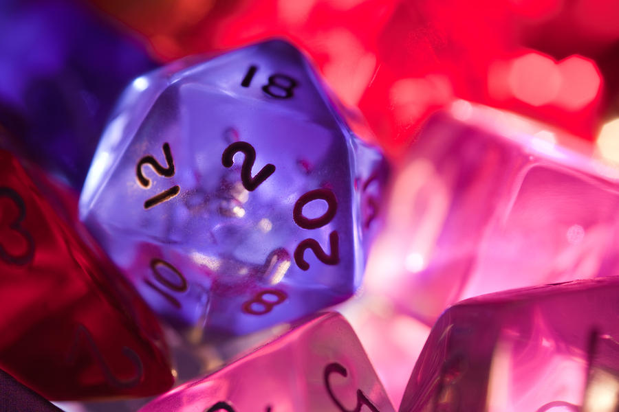 Role-playing D20 Dice Photograph  - Role-playing D20 Dice Fine Art Print