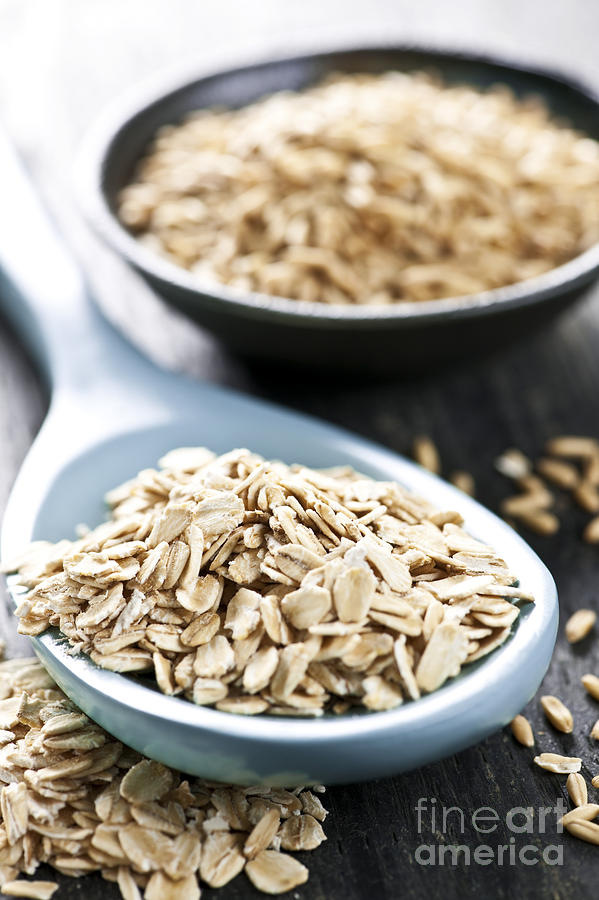 Rolled Oats And Oat Groats Photograph  - Rolled Oats And Oat Groats Fine Art Print