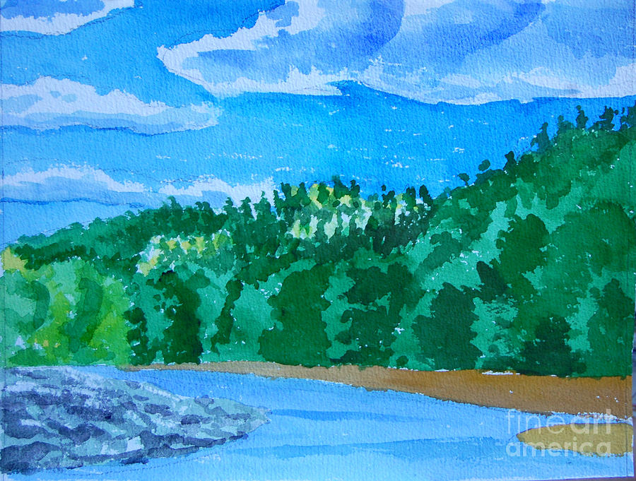 Rolling Hills And River Painting  - Rolling Hills And River Fine Art Print