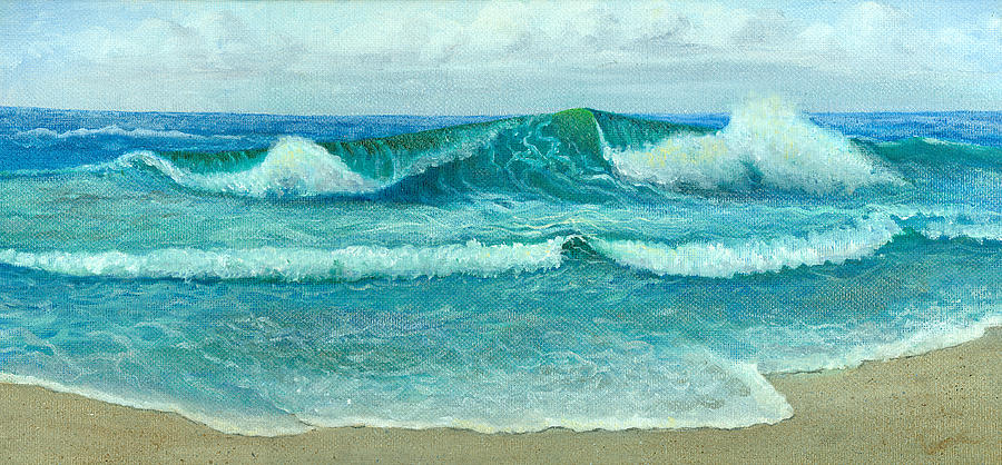 Seascape Painting - Rolling In by Leona Jones