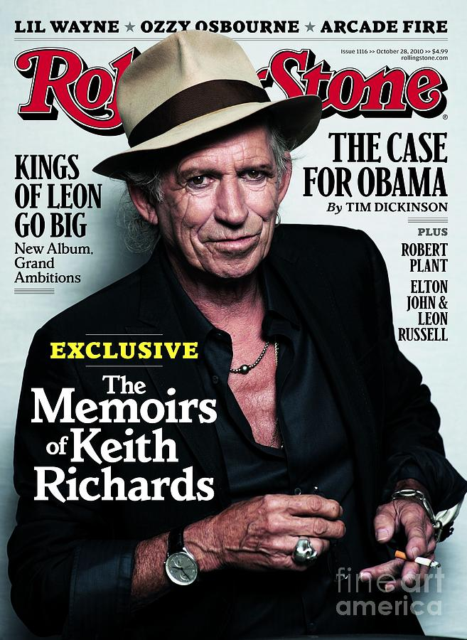 Rolling Stone Cover - Volume #1116 - 10/28/2010 - Keith Richards Photograph  - Rolling Stone Cover - Volume #1116 - 10/28/2010 - Keith Richards Fine Art Print