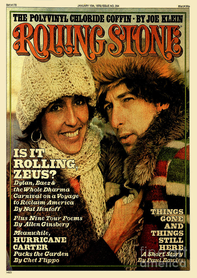 Rolling Stone Cover - Volume #204 - 1/15/1976 - Joan Baez And Bob Dylan Photograph  - Rolling Stone Cover - Volume #204 - 1/15/1976 - Joan Baez And Bob Dylan Fine Art Print