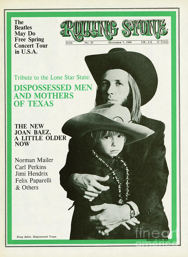 Rolling Stone Cover - Volume #23 - 12/7/1968 - Doug And Sean Sahm Photograph  - Rolling Stone Cover - Volume #23 - 12/7/1968 - Doug And Sean Sahm Fine Art Print