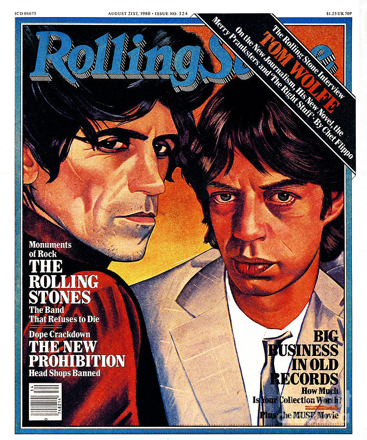 Rolling Stone Cover - Volume #324 - 8/21/1980 - Mick Jagger And Keith Richards Photograph  - Rolling Stone Cover - Volume #324 - 8/21/1980 - Mick Jagger And Keith Richards Fine Art Print