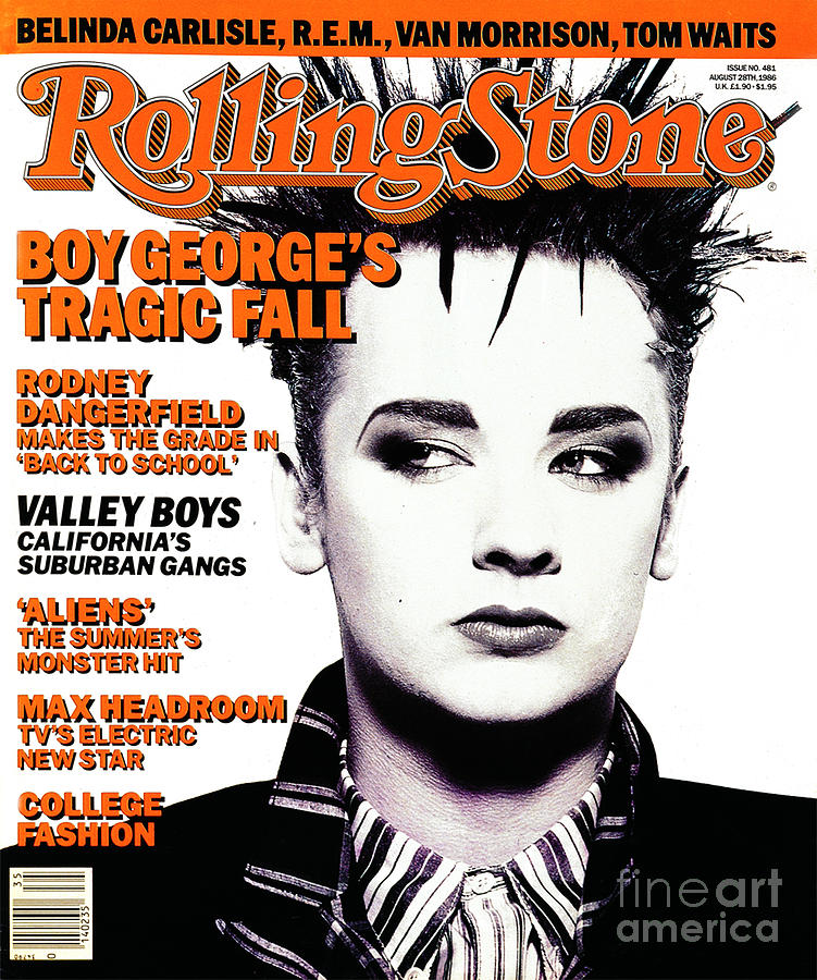 Rolling Stone Cover - Volume #481 - 8/28/1986 - Boy George Photograph  - Rolling Stone Cover - Volume #481 - 8/28/1986 - Boy George Fine Art Print