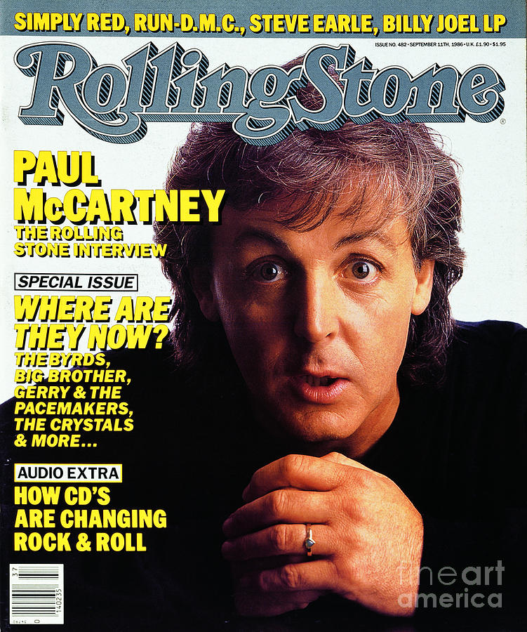 Rolling Stone Cover - Volume #482 - 9/11/1986 - Paul Mccartney Photograph  - Rolling Stone Cover - Volume #482 - 9/11/1986 - Paul Mccartney Fine Art Print