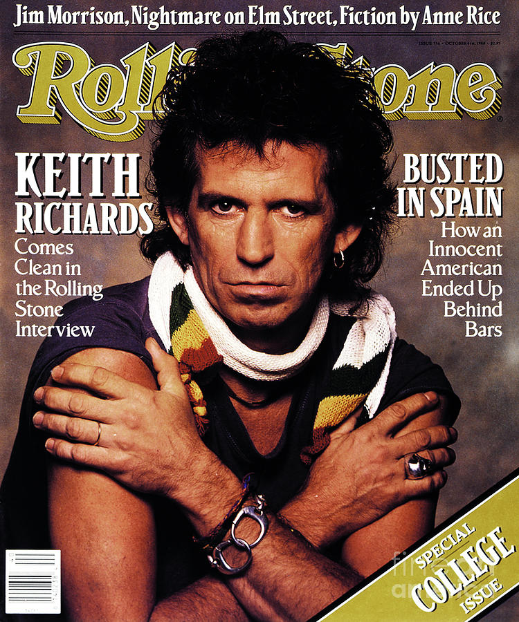 Rolling Stone Cover - Volume #536 - 10/6/1988 - Keith Richards Photograph  - Rolling Stone Cover - Volume #536 - 10/6/1988 - Keith Richards Fine Art Print