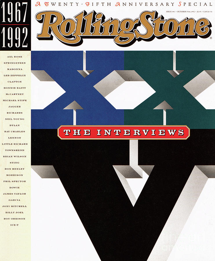 Rolling Stone Cover - Volume #641 - 10/15/1992 - The Twentieth-fifth Anniversary: The Interviews Photograph  - Rolling Stone Cover - Volume #641 - 10/15/1992 - The Twentieth-fifth Anniversary: The Interviews Fine Art Print