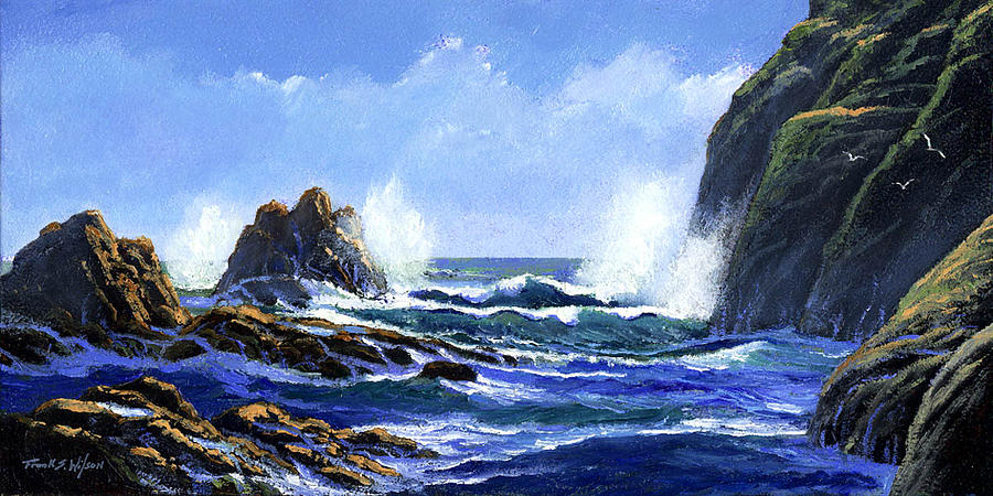 Surf Painting - Rolling Surf by Frank Wilson