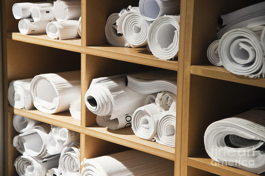 Rolls Of Blueprints In Cubbyholes Photograph
