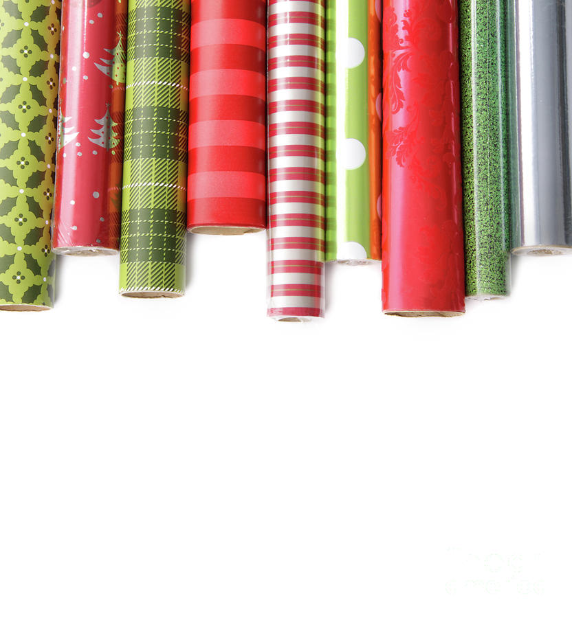 Rolls Of Colored Wrapping  Paper On White3 Photograph