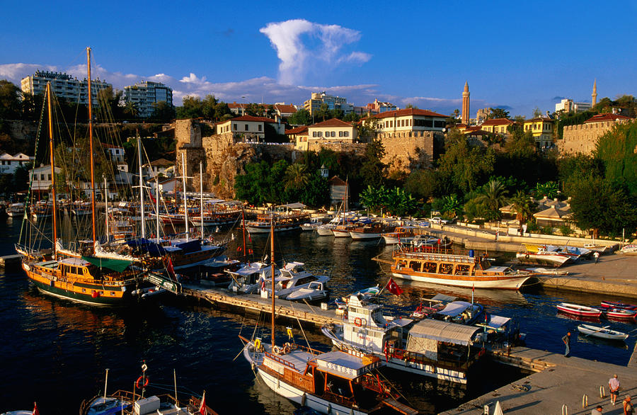 Roman Harbour In Kaleici Old Town, Antalya, Turkey, Middle East Photograph by...