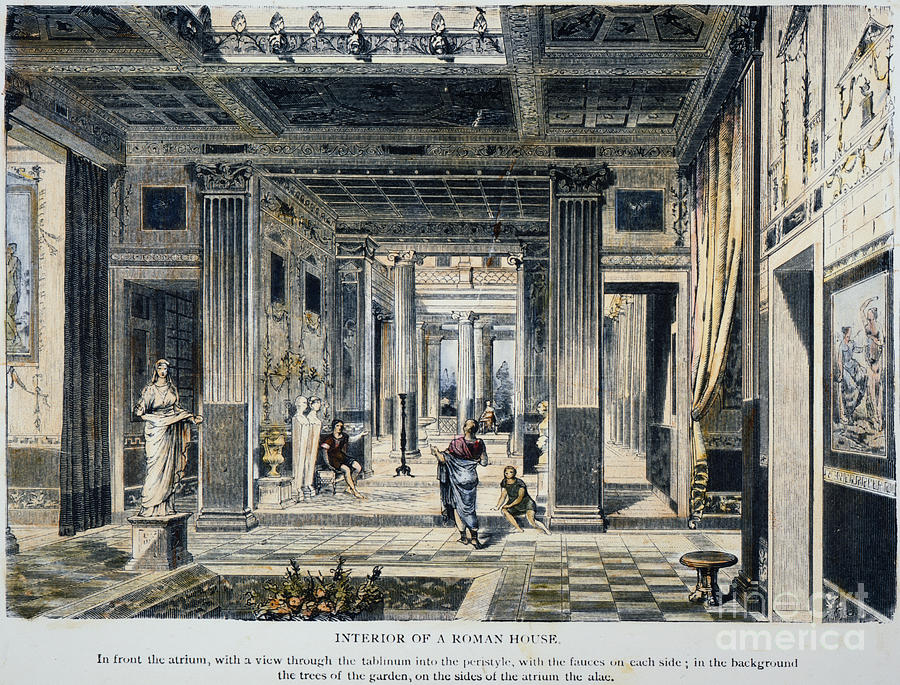 Roman house interior photograph by granger for Ancient roman interior decoration