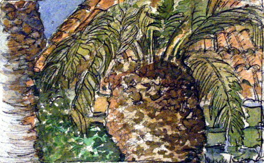 Roman Palm Tree Outside The Catacombs Painting  - Roman Palm Tree Outside The Catacombs Fine Art Print