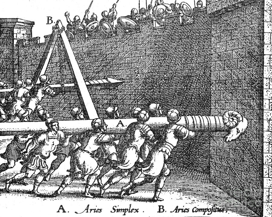 Roman Soldiers Attacking Fortress  Photograph