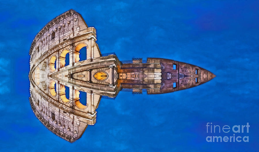 Romano Spaceship - Archifou 73 Digital Art  - Romano Spaceship - Archifou 73 Fine Art Print