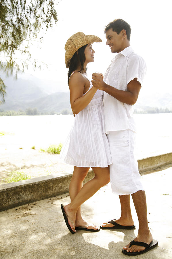 Romantic Couple In White Photograph