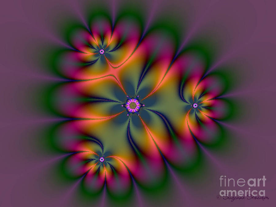 Romantic Fractal Flower Digital Art  - Romantic Fractal Flower Fine Art Print