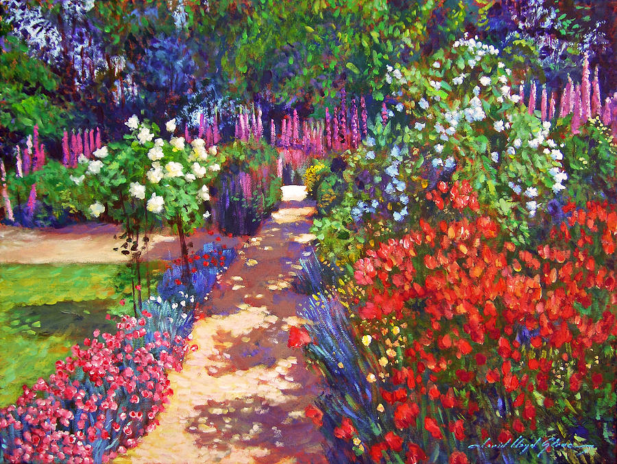Romantic Garden Walk Painting  - Romantic Garden Walk Fine Art Print