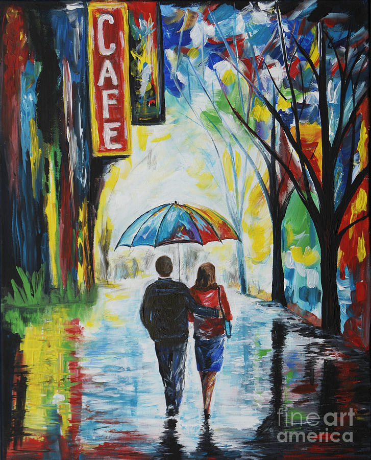 Romantic Night Out Painting  - Romantic Night Out Fine Art Print