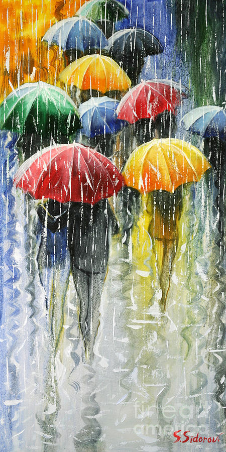 Romantic Umbrellas Painting