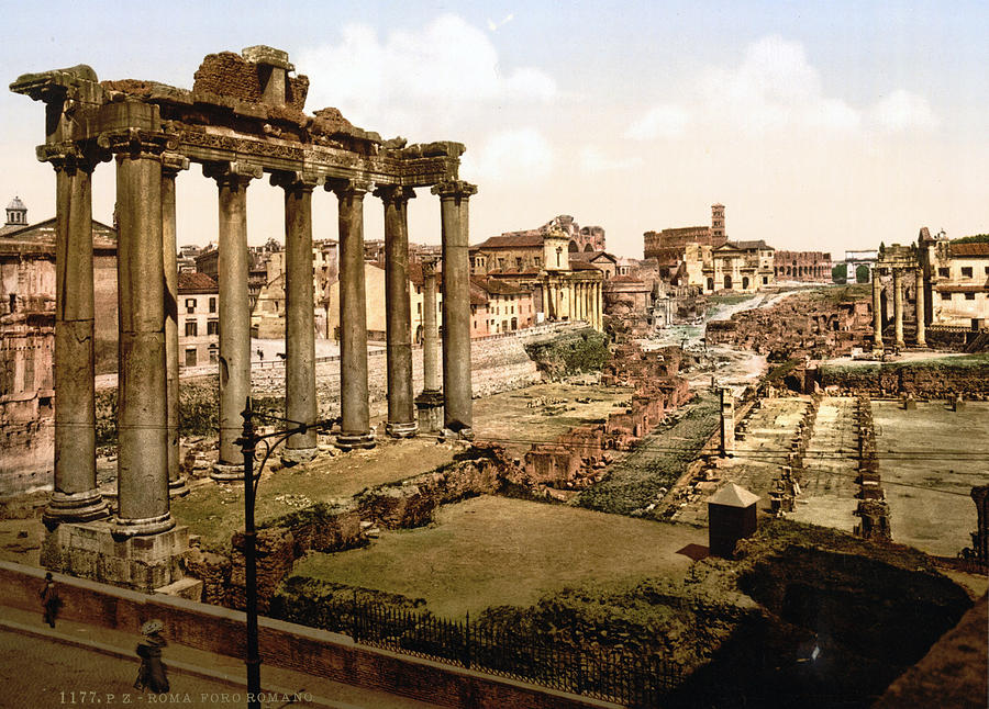 19th Century Photograph - Rome, Ruins Of The Temple Of Saturn by Everett