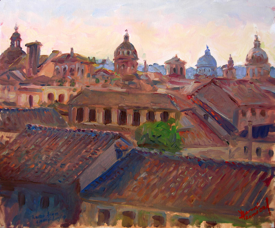 Rome Seen From Campidoglio Painting  - Rome Seen From Campidoglio Fine Art Print