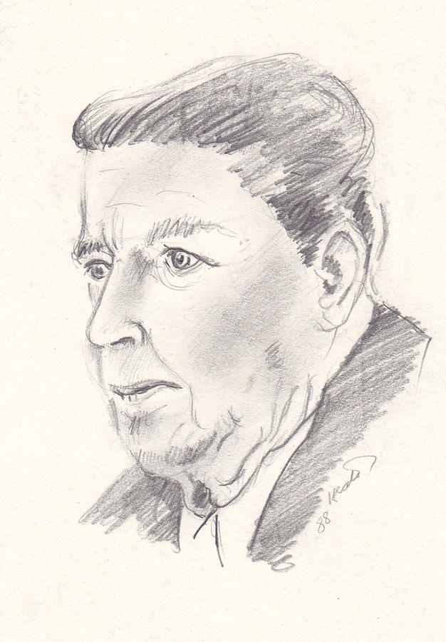 Ronald Reagan Drawing  - Ronald Reagan Fine Art Print