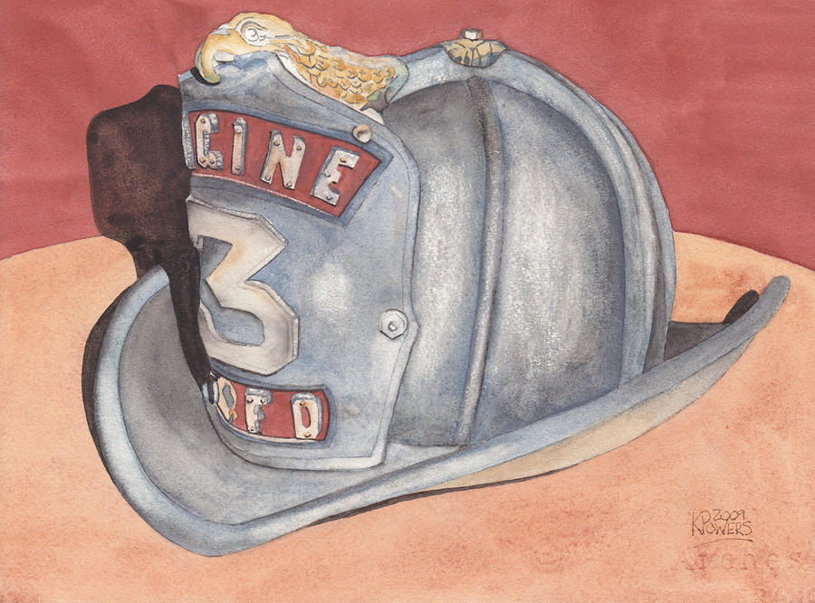 Rondos Fire Helmet Painting  - Rondos Fire Helmet Fine Art Print