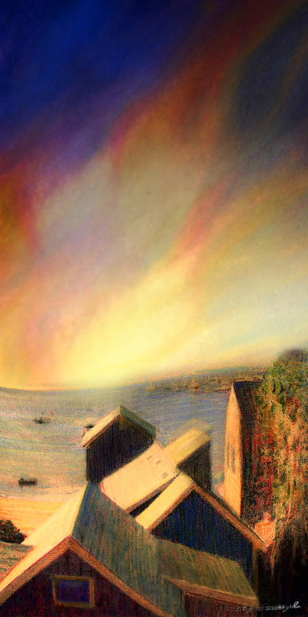 Roof Tops Over Provincetown Harbor Painting  - Roof Tops Over Provincetown Harbor Fine Art Print