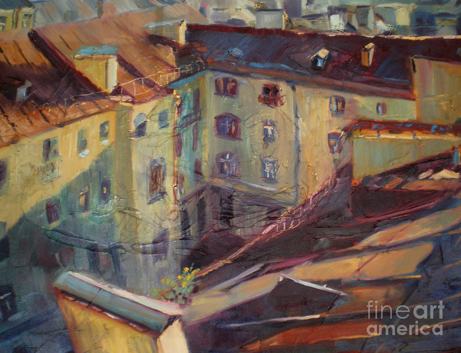 Roofs Of Leningrad Painting  - Roofs Of Leningrad Fine Art Print