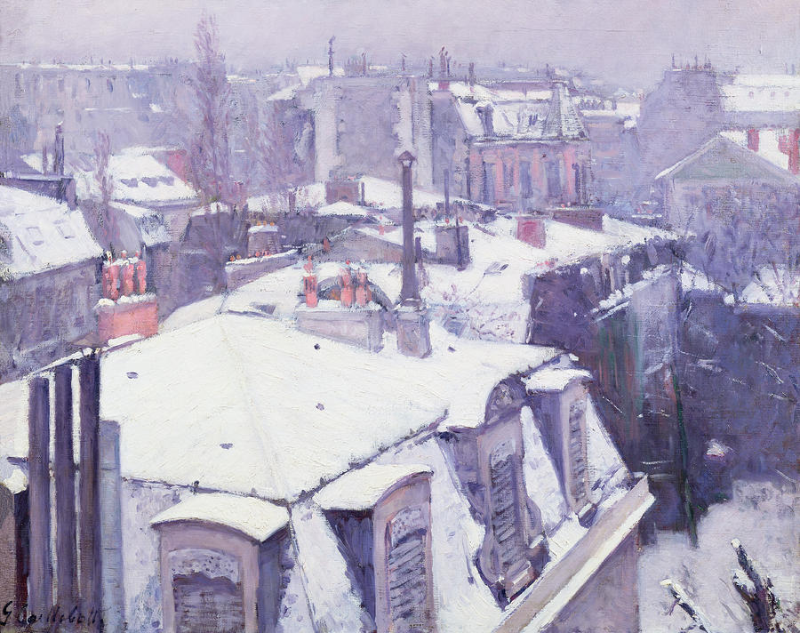 Roofs Under Snow Painting  - Roofs Under Snow Fine Art Print