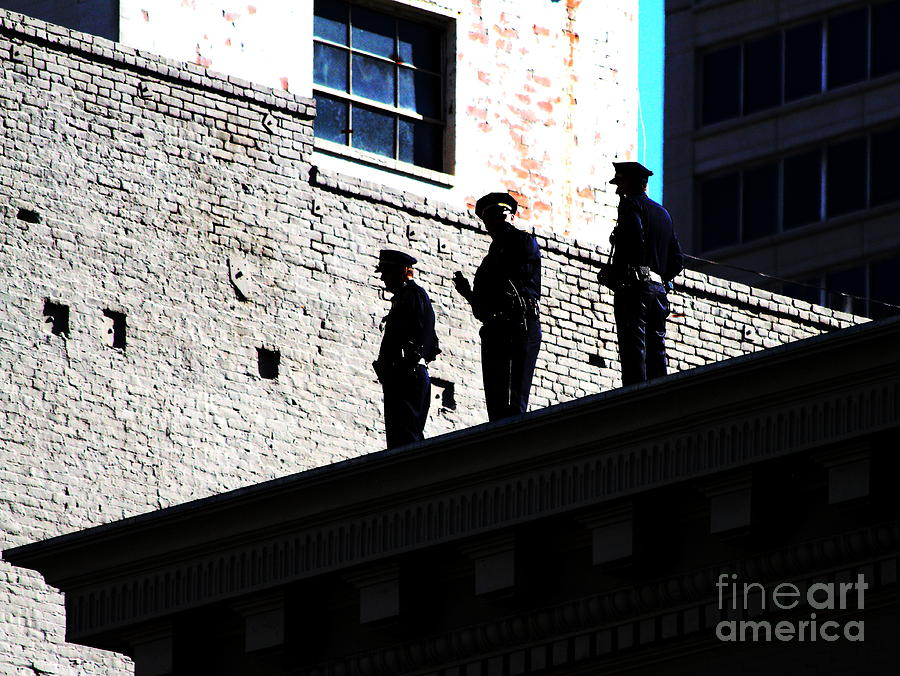 Rooftop Cops Photograph  - Rooftop Cops Fine Art Print