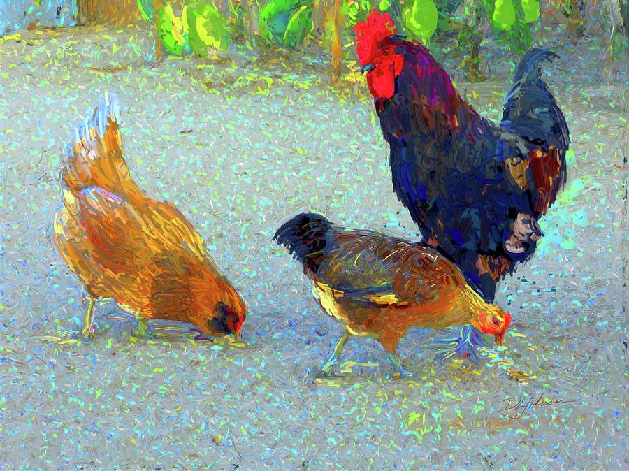 Rooster And Hens by Donna Johnson