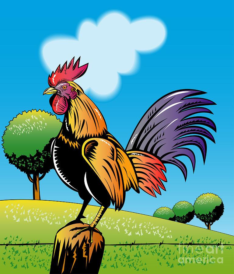 Rooster Cockerel Cock Crowing Retro Digital Art
