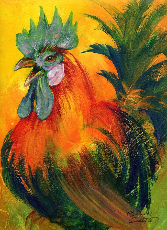 Rooster Of Another Color Painting  - Rooster Of Another Color Fine Art Print