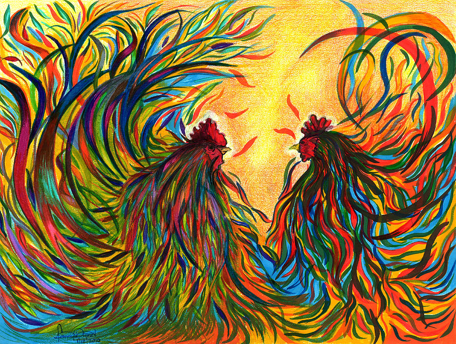 Roosters Frienship Painting