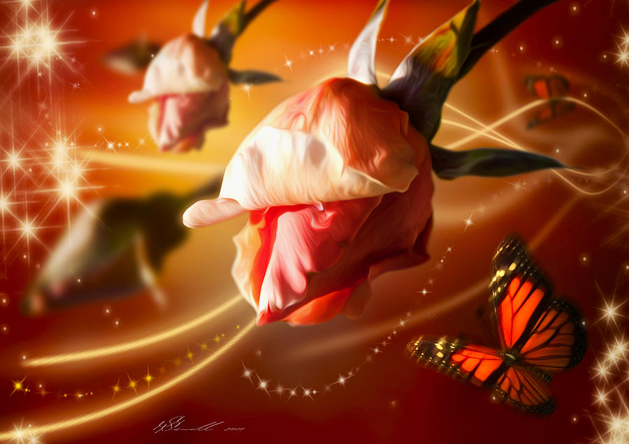 Rose And Butterfly Digital Art  - Rose And Butterfly Fine Art Print