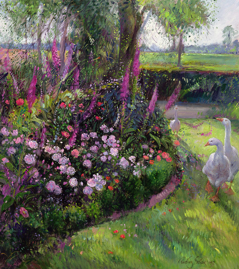 Rose Bed And Geese Painting  - Rose Bed And Geese Fine Art Print