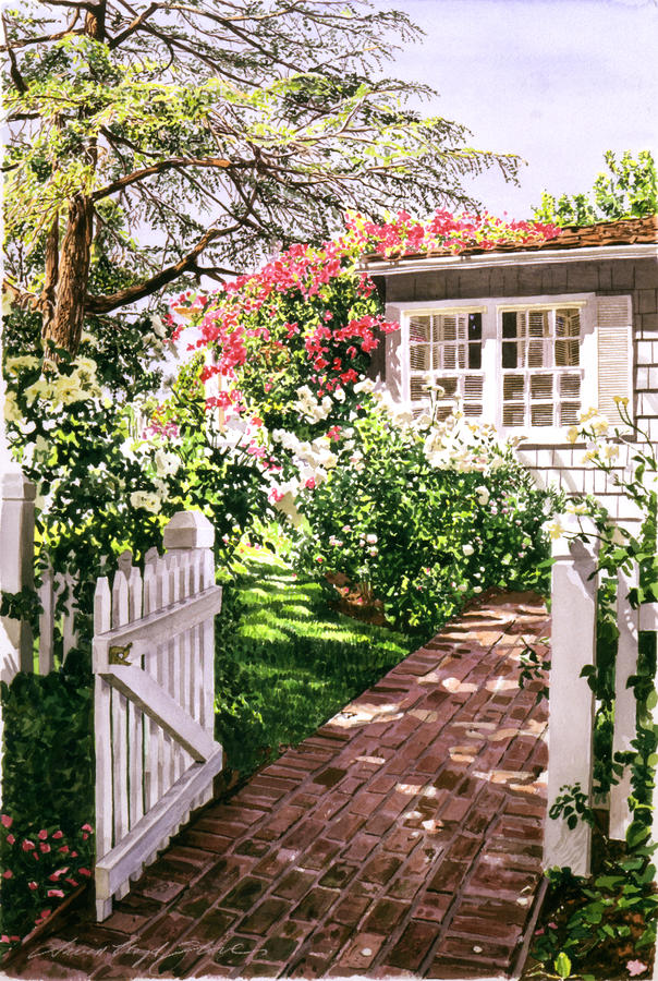 Rose Cottage Gate Painting  - Rose Cottage Gate Fine Art Print