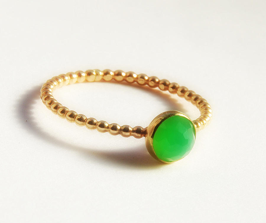 Rose Cut Chrysoprase Ring- Dainty Stackable Gold Ring- Gold Stacking Ring-  Jewelry