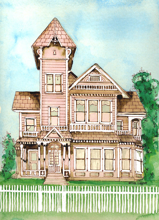 Rose Victorian Inn - Arroyo Grande Ca 1886 Painting
