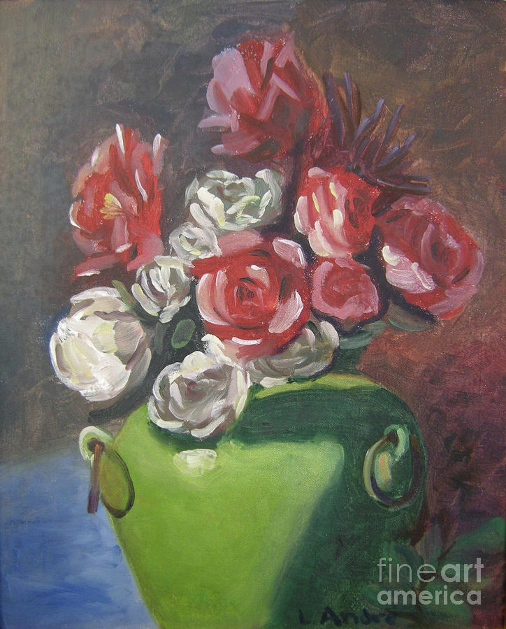 Floral Painting - Roses And Green Vase by Lilibeth Andre