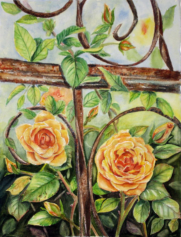 Roses At Garden Fence Painting  - Roses At Garden Fence Fine Art Print